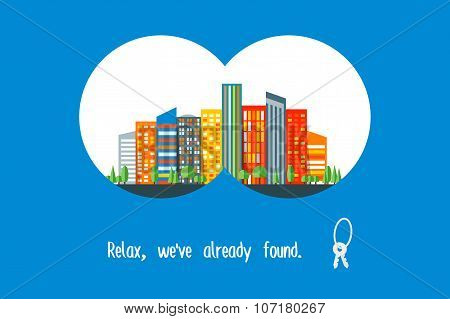 Urban real estate search. Advertising poster. Trendy modern flat vector design.