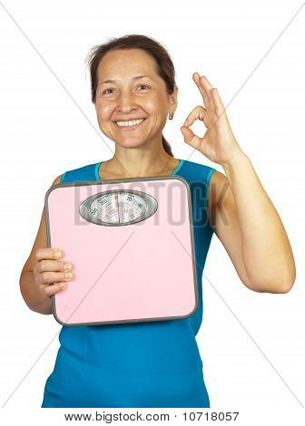 Caucasian Woman Holding Scale