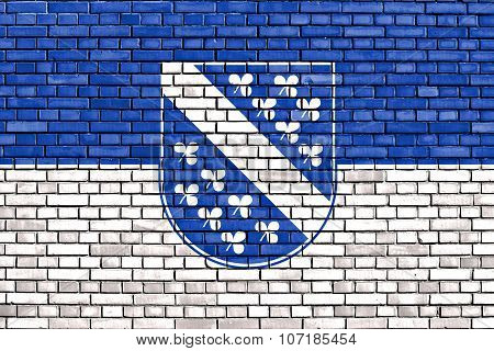 Flag Of Kassel Painted On Brick Wall