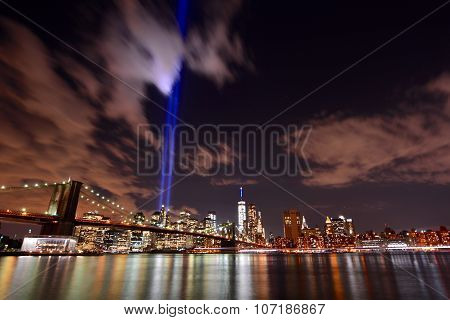 NYC skyline tribute lights