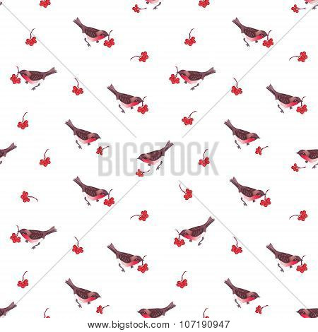 Cute Christmas Bullfinches And Ashberry Seamless Vector Pattern