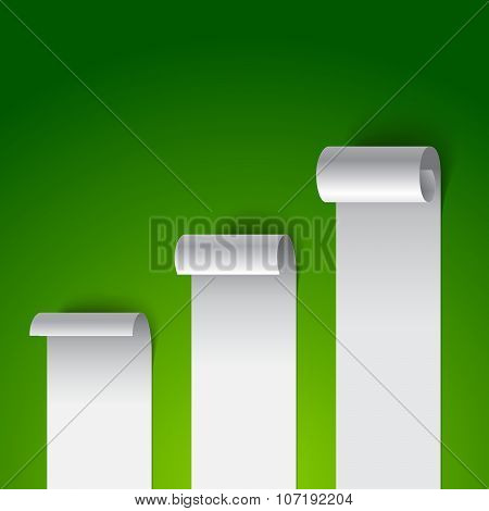 Curled blank paper stripe banners chart on green background