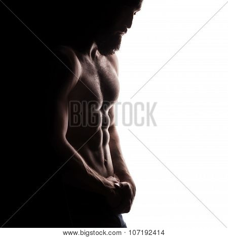 closeup of strong athletic man on white background