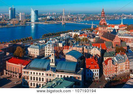 Aerial view of Old Town and Daugava, Riga, Latvia