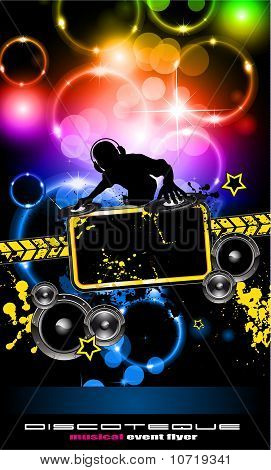 Discoteque Music Flyer With Attractive Rainbow Colours