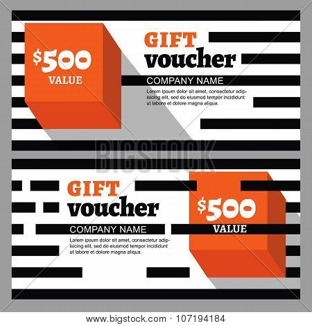 Vector Gift Voucher With Striped Pattern And Orange Cube.