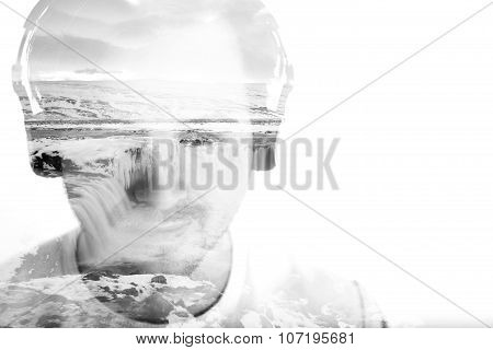Young Man With Headphones And Waterfall, Double Exposure
