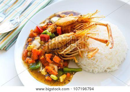 Thai Food, Deep-fried Prawns With Black Pepper Sauce.