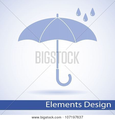 Vector umbrella logo, icon, rain symbol, silhouette shape, weather, interface element