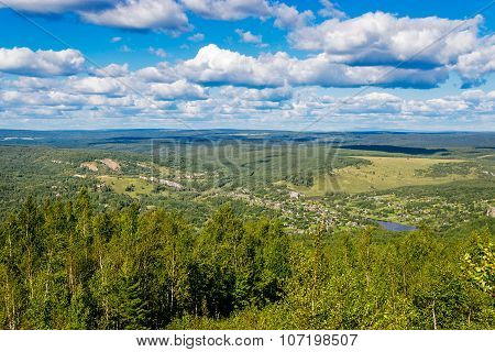 forested hills from a height