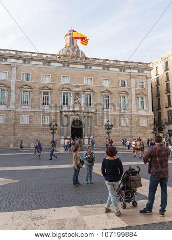 People Around The Palau De La Generalitat
