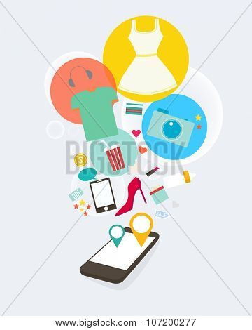 phone with product page and various retail wares colourful flat icons.