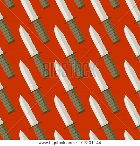 Military Knife Seamless Pattern. Background Bladed Weapons. Ornament Of  Blades.
