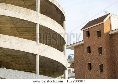 Pattern Of Multi-storey Carpark Building; Exterior View