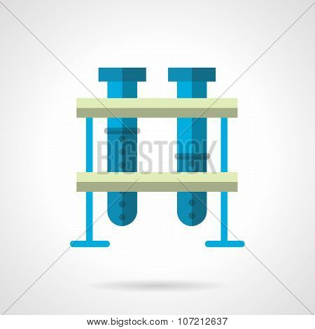 Blue test-tubes flat color style vector icon