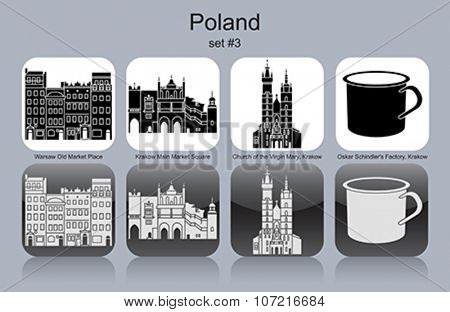 Landmarks of Poland. Set of monochrome icons. Editable vector illustration.