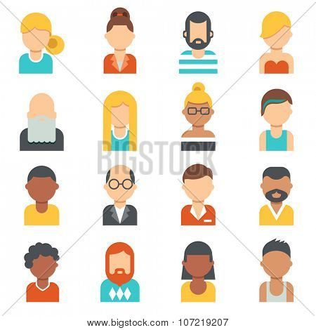 People icons. Young, seniors , males and females profile pictures. Different nationalities, hair styles and clothes. Flat design.