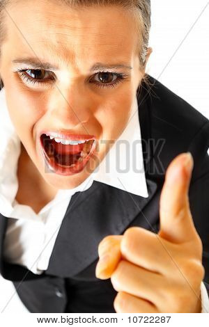 Furious modern business woman shaking her finger