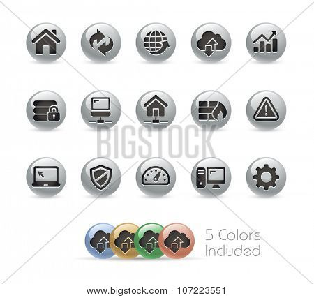 Web Developer Icons // Metal Round Series -- The vector file includes 5 color versions for each icon in different layers.