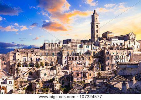 ancient Matera over sunset - Basilicata, Ita;y