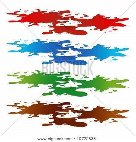 Puddle Of Paint Spill. Blood, Toxic, Water And Chocolate Stain, Plash, Drop. Vector Illustration Iso
