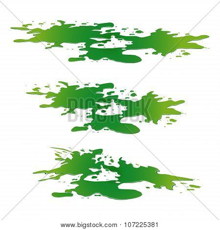 Puddle Of Toxic Substance Spill. Green Chemical Stain, Plash, Drop. Vector Illustration Isolated On