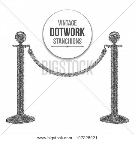 Dotwork Halftone Vector Stanchions