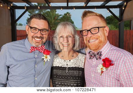 Smiling Gay Men With Mother