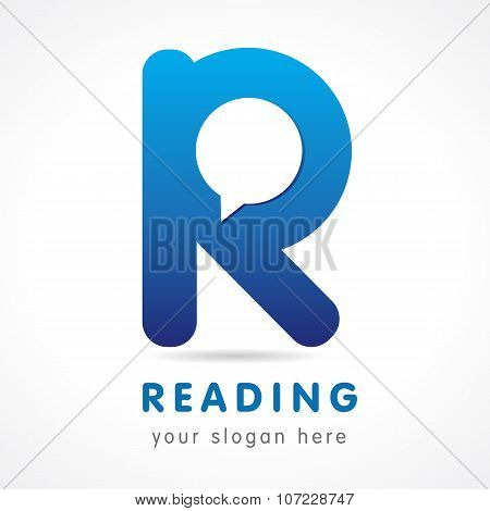 R letter logotype. Learn, educational, reading, e-reader blue colored volume editable branding template elements. FAQ, I.Q., contact us, speaking, computer, smartphone app settings. CEO, SEO idea.