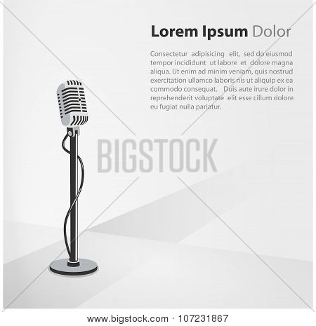 Background with vintage microphone