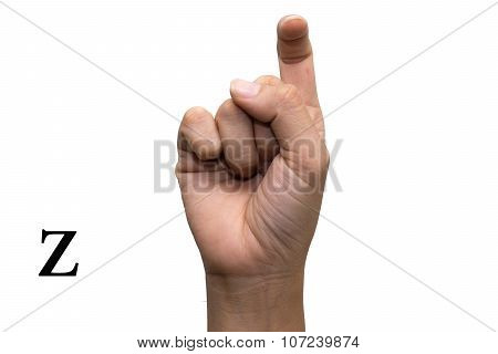 Finger Spelling the Alphabet in American Sign Language (ASL). The Letter Z