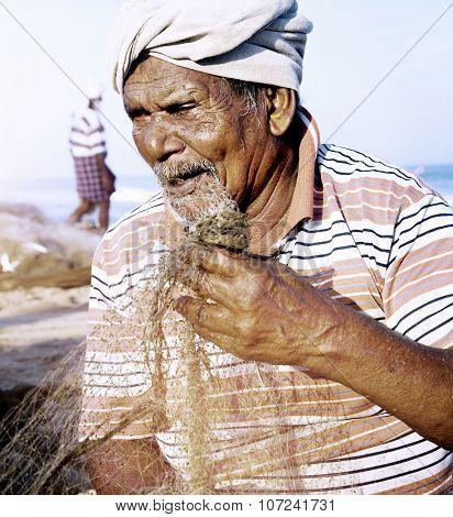 Indian Fisherman Kerela India Poverty Concept