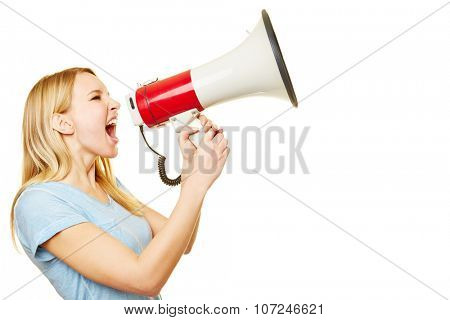 Young blonde woman screaming loudly into a big megaphone