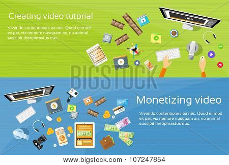 Video Editor Desk Workplace Web Banner Set