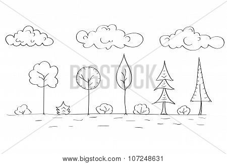 Forest Tree Woods Sketch Simple Line Child Hand Drawing