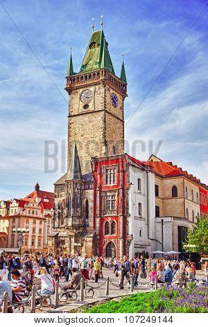 Prague,czech Republic- September 13, 2015: Church Of Our Lady(staromestske Namesti)on Historic Squar