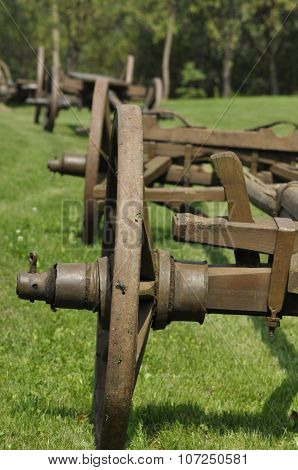 Wagon with wooden wheels. Museum renovated monument. waggon-driving