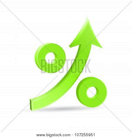Percent Up Arrow 3D Icon