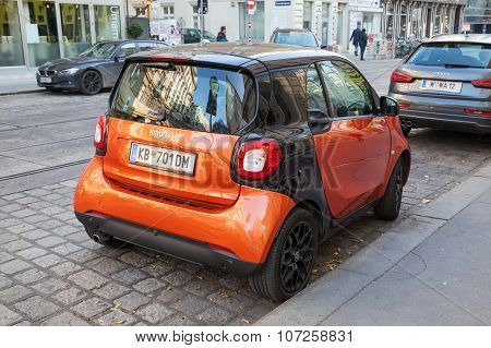 Bright Red Smart Fortwo W453 Car, Rear View