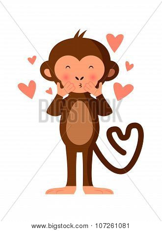 Cute Monkey Blowing Kisses, Romantic Vector Illustration