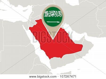 Saudi Arabia On World Map