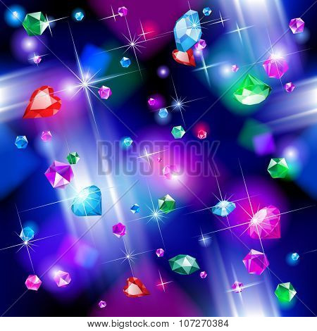 Seamless pattern background of falling full color bright diamonds. Jewelry concept background. Vector illustration