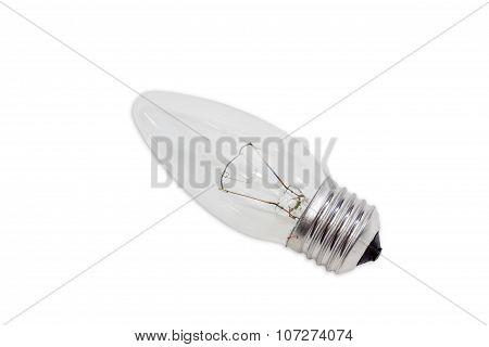 Incandescent Light Bulb On A Light Background