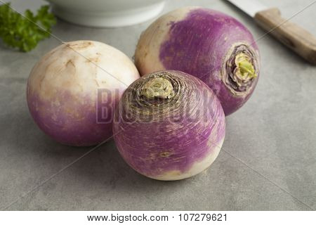 Fresh raw white turnips