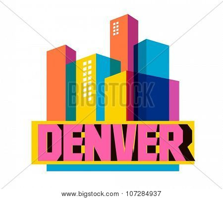 Denver, Colorado great destination to visit, vector cartoon