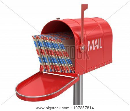 Open mailbox with letters (clipping path included)