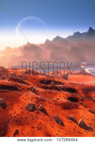 Mars, Phobos and mountains