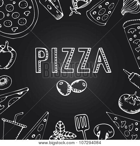 Menu Pizza On The Chalkboard.