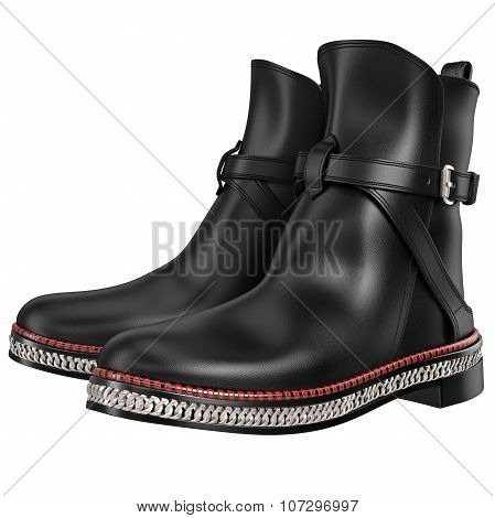 Men's black leather boots with silver chain
