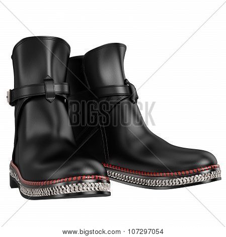 Men's black leather shoes with silver chain